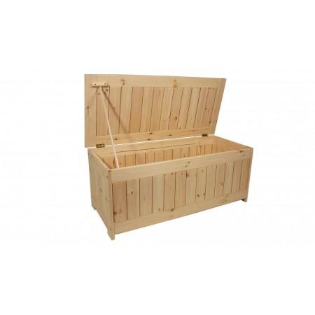 Velký zahradní úložný box z masivního dřeva, nelakovaný, 134x59 cm
