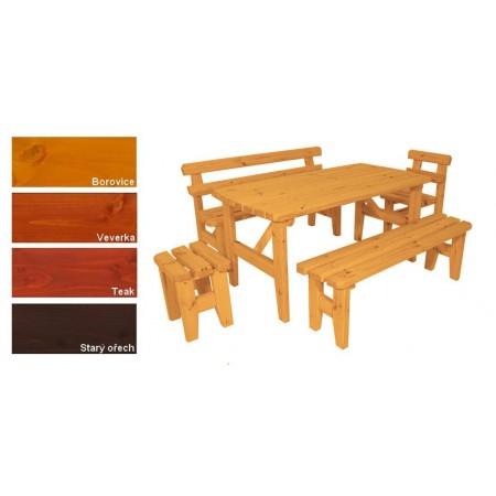 Větší rodinná sestava masivního zahradního nábytku, lakovaná- 4 odstíny