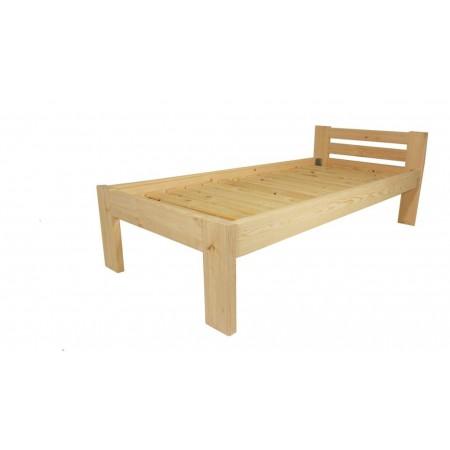 Masivní dřevěná postel s roštem, čirý lak, 200x90 cm