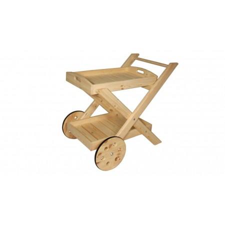 Servírovací stolek z masivního dřeva, s velkými koly, nelakovaný, 81 cm