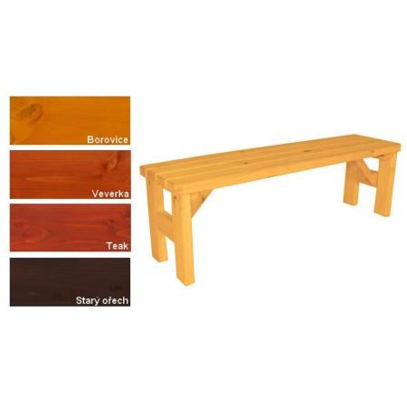 Jednoduchá lavice bez opěrky, pevné provedení- masivní dřevo, lakovaná, 150 cm