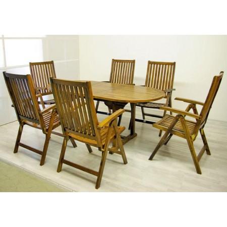 Velký zahradní set dřevěného akátového nábytku, rozložitelný stůl, pro 6 osob