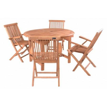 Teakový set zahradního nábytku, rozložitelný stůl, pro 4 osoby