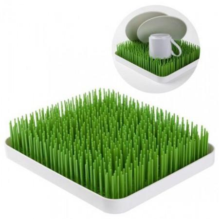 Designový odkapávač na nádobí- umělá tráva, bílá / zelená, 25x29,5 cm