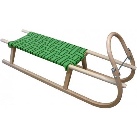 Klasické dřevěné sáňky, textilní sedlo- zelené, 110 cm