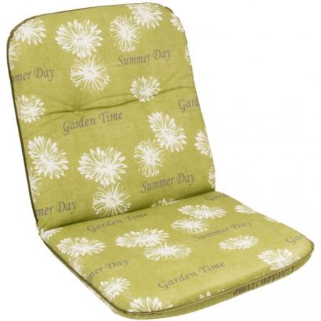 Polstr- podložka na židli, světle zelená + potisk květin, 98x49 cm