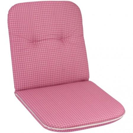 Polstr- podložka na židli, nízká opěrka, růžová, 98x49 cm