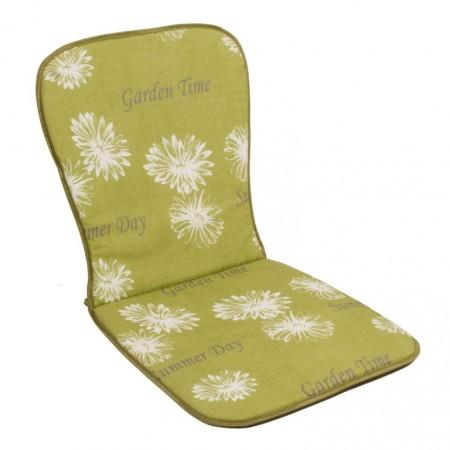 Měkké polstrování na židle a křesla s nízkým opěradlem, zelená + potisk, 74x39 cm