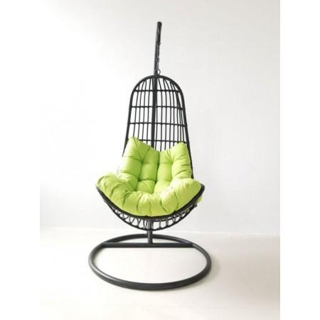 Relaxační závěsné křeslo do interiéru / na zahradu, kovová konstrukce, černé, 200 cm