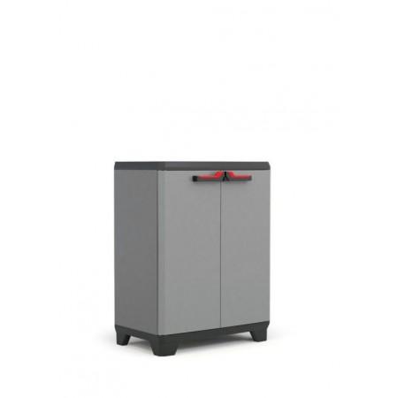 Uzamykatelná plastová skříňka do dílny, šedá, 69x39x90 cm