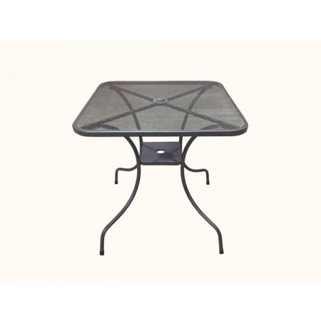 Zahradní drátěný stůl, čtvercový, otvor pro slunečník, 80x80 cm