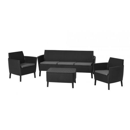Ratanová souprava nábytku na zahradu / terasu, větší pohovka, grafit