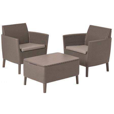 Menší ratanová souprava nábytku na zahradu / balkon, cappuccino