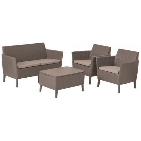 Set venkovního polyratanového nábytku, stůl s úložným prostorem, cappuccino