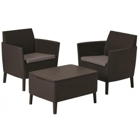Menší ratanová souprava nábytku na zahradu / balkon, tmavě hnědá
