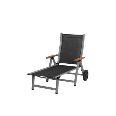 Luxusní hliníkové zahradní lehátko s kolečky, dřevěné područky