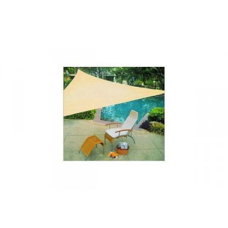 Sluneční stínící plachta na terasu / zahradu, trojúhelník, písková, 3,6x3,6x3,6 m