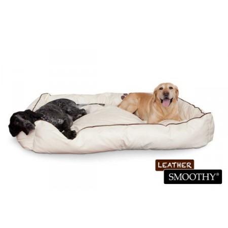 Pelíšek pro velké psy, obdélníkový, umělá kůže, krémový, 144x100 cm