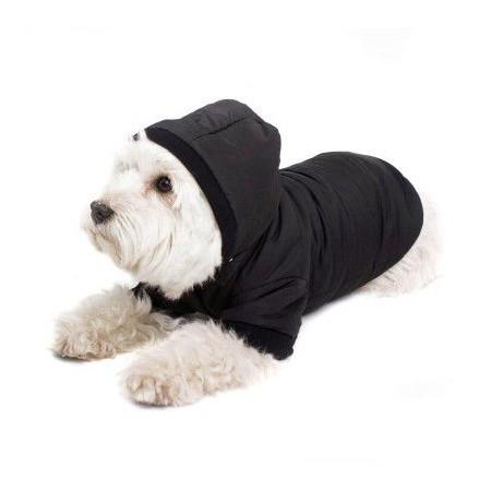 Obleček pro psy / jarní buda s kapucí, černý, vel. S