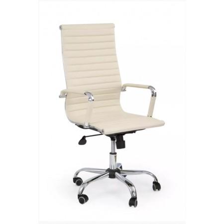 Krémové elegantní kancelářské křeslo, kožený vzhled / chromové doplňky
