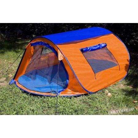 Samostavěcí stan pro kempování a turistiku, oranžová / modrá, 225x150x105 cm