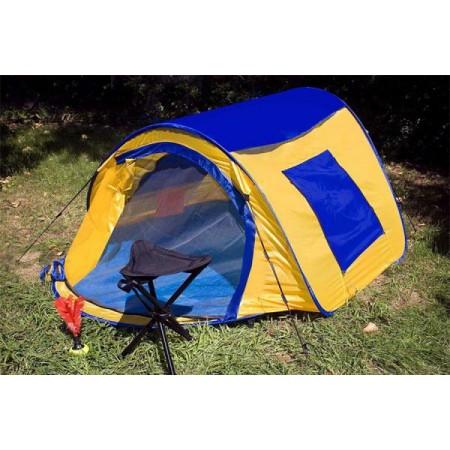 Samostavěcí stan pro kempování a turistiku, žlutá / modrá, 225x150x105 cm