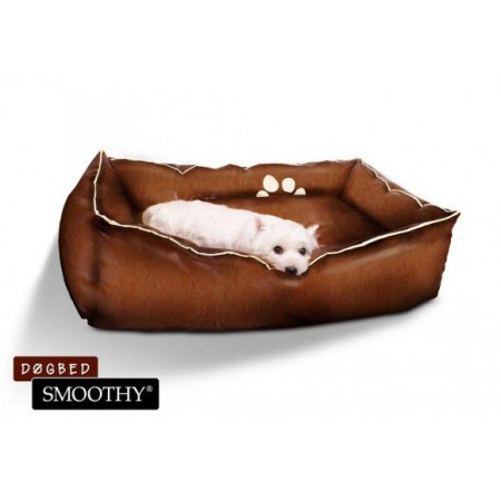Měkký pelíšek pro psy z umělé kůže, polstrovaný, hnědý, 62x42x24 cm