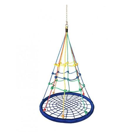 Dětská závěsná houpačka - kruh s barevnou sítí