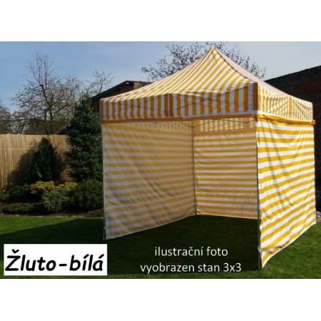 Pevný zahradní párty stan s ocelovou konstrukcí 3x4,5 m, žluto - bílý