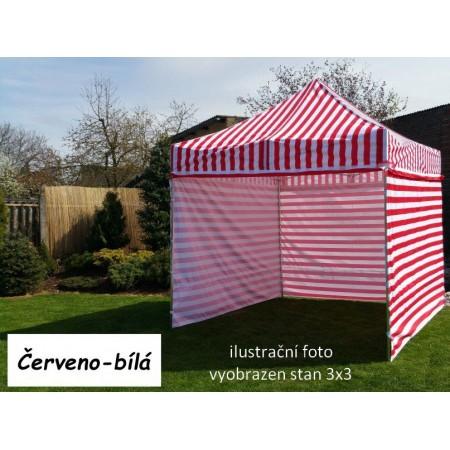 Pevný zahradní párty stan s ocelovou konstrukcí 3x4,5 m, červeno - bílý