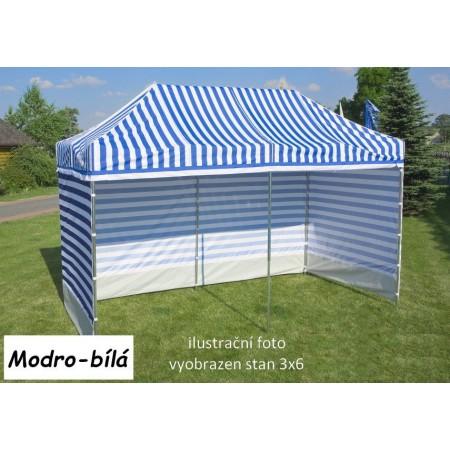 Pevný zahradní párty stan s ocelovou konstrukcí 3x4,5 m, modro - bílý