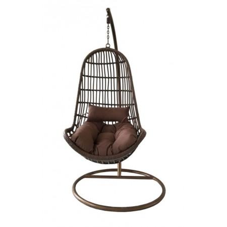 Luxusní závěsné houpací křeslo venkovní / vnitřní, hnědé, 200 cm