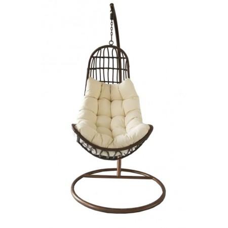 Elegantní závěsné houpací křeslo venkovní / vnitřní, hnědé, 200 cm
