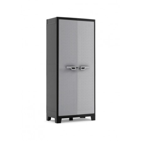 Plastová odkládací skříňka do interiéru / exteriéru, šedá, 80x44x182 cm