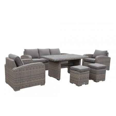 Luxusní ratanový zahradní nábytek, hnědá / šedohnědá