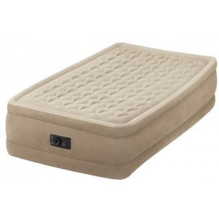 Měkká vysoká nafukovací postel pro hosty, semiš, 191x99x46 cm