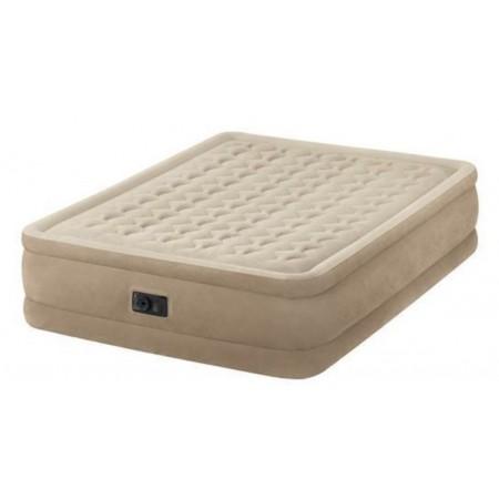 Měkká vysoká nafukovací postel pro hosty, semiš, 203x152x46 cm