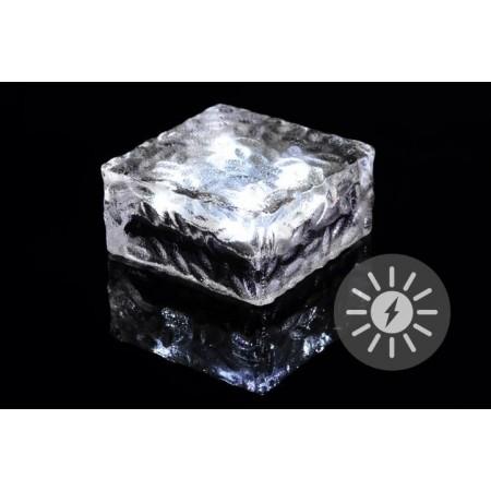 Osvětlený průhledný kámen se solárním dobíjením, 10x10x5 cm
