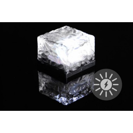 Osvětlený průhledný kámen se solárním dobíjením, 7x7x5 cm