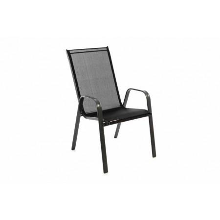 Pevná kovová venkovní židle stohovatelná, kov / textilie, černá