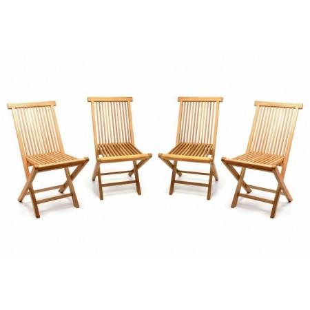 4 ks skládací zahradní teaková židle, masiv