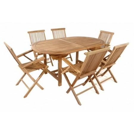 Větší sestava zahradního dřevěného nábytku, teakové dřevo