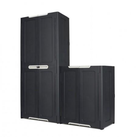 Úložná plastová skříňka menší, interiér / exteriér, antracit, 77x48x90,5 cm