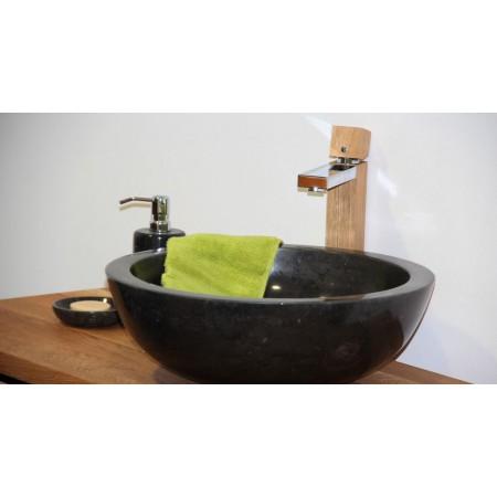 Luxusní umyvadlo- ručně leštěný kámen- černý mramor, kulaté, Ø45 cm