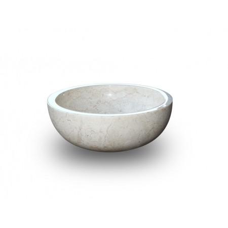 Luxusní umyvadlo- ručně leštěný kámen- krémový mramor, kulaté, Ø45 cm