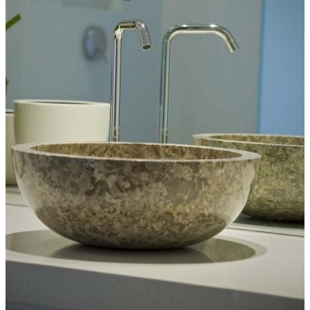 Luxusní umyvadlo- ručně leštěný kámen- šedý mramor, kulaté, Ø45 cm