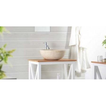 Luxusní umyvadlo- ručně leštěný kámen- krémový mramor, kulaté, Ø 40 cm