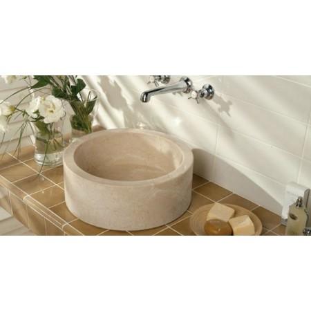 Luxusní designové umyvadlo na desku, leštěný mramor- krémový, Ø 40 cm