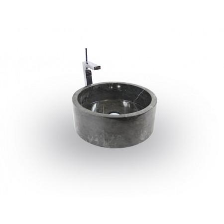 Luxusní designové umyvadlo na desku, leštěný mramor- černý, Ø 40 cm
