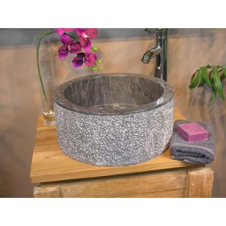 Luxusní designové umyvadlo na desku černá / šedá, hrubá vnější část, Ø 45 cm
